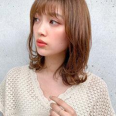 鎖骨ミディアム ナチュラル デジタルパーマ ミディアム ヘアスタイルや髪型の写真・画像