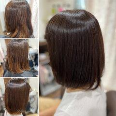 モード 髪質改善 ボブ ココアベージュ ヘアスタイルや髪型の写真・画像