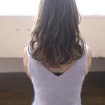 透明感 極細ハイライト セミロング 巻き髪