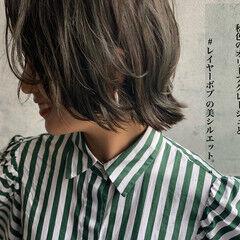 ウルフカット フェミニン ショートボブ くびれボブ ヘアスタイルや髪型の写真・画像