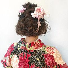 ボブアレンジ 卒業式 フェミニン ハーフアップ ヘアスタイルや髪型の写真・画像