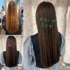 オリーブグレージュ ロング オリーブベージュ エレガント ヘアスタイルや髪型の写真・画像