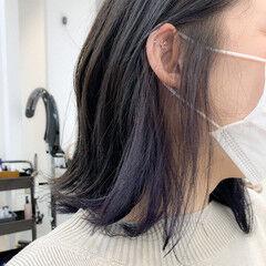アンニュイ インナーカラー 大人かわいい 切りっぱなしボブ ヘアスタイルや髪型の写真・画像