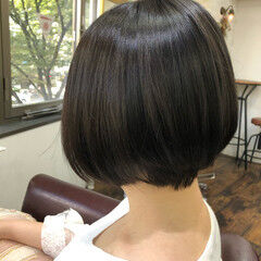 透明感カラー デート ショートボブ 流し前髪 ヘアスタイルや髪型の写真・画像