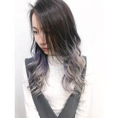 ブリーチカラー オーロラカラー ストリート ホワイトグレージュ ヘアスタイルや髪型の写真・画像