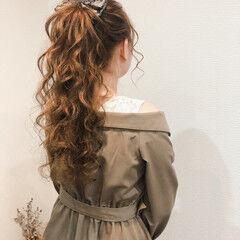 ヘアアレンジ フェミニン ヘアセット ポニーテールアレンジ ヘアスタイルや髪型の写真・画像