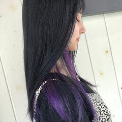 大人可愛い バイオレットカラー ヘアカラー フェミニン ヘアスタイルや髪型の写真・画像