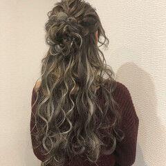 お花ヘア ハーフアップ ヘアアレンジ ロング ヘアスタイルや髪型の写真・画像
