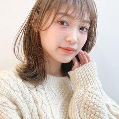 髪質改善トリートメント 小顔ヘア レイヤーカット ミディアム ヘアスタイルや髪型の写真・画像