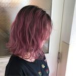 ミディアム グラデーションカラー ストリート ピンク
