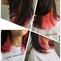 渋谷系 ミディアム ピンク ガーリー ヘアスタイルや髪型の写真・画像