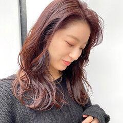 美髪 ナチュラル 赤髪 大人ミディアム ヘアスタイルや髪型の写真・画像