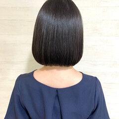 イルミナカラー ナチュラル 地毛風カラー 切りっぱなしボブ ヘアスタイルや髪型の写真・画像