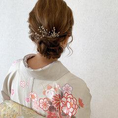 訪問着 結婚式ヘアアレンジ 着物 結婚式 ヘアスタイルや髪型の写真・画像