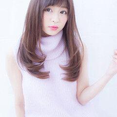 縮毛矯正 ナチュラル セミロング ストレート ヘアスタイルや髪型の写真・画像