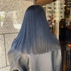 ネイビーブルー ブルーアッシュ ロング ブルー ヘアスタイルや髪型の写真・画像