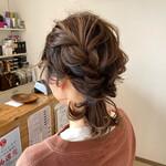 結婚式 編み込みヘア ウルフカット 編みおろしヘア