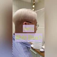 ナチュラル メンズカット スキンフェード ホワイトブリーチ ヘアスタイルや髪型の写真・画像