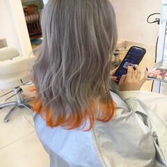 ブリーチオンカラー ブリーチカラー 裾カラー 裾カラーオレンジ ヘアスタイルや髪型の写真・画像