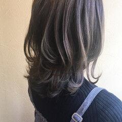 オフィス ミディアム ワンカールスタイリング デート ヘアスタイルや髪型の写真・画像