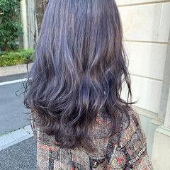 韓国ヘア セミロング モード ラベンダー ヘアスタイルや髪型の写真・画像