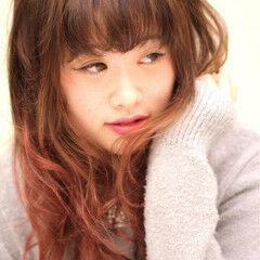 好感度 グラデーションカラー セミロング アンニュイ ヘアスタイルや髪型の写真・画像
