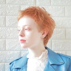 春ヘア オレンジカラー マニッシュ ショート ヘアスタイルや髪型の写真・画像