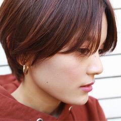 ハンサムショート オレンジ 暖色系グレージュ ストリート ヘアスタイルや髪型の写真・画像