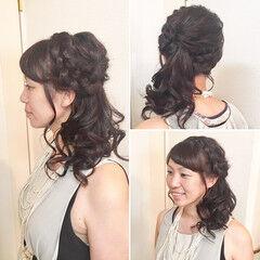編み込み フェミニン 結婚式 ヘアアレンジ ヘアスタイルや髪型の写真・画像