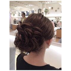 ヘアアレンジ ボブ ローズ ナチュラル ヘアスタイルや髪型の写真・画像