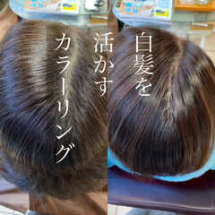 髪質改善カラー 白髪染め ミディアム ナチュラル ヘアスタイルや髪型の写真・画像