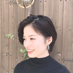 ナチュラル ショート ショートボブ ナチュラルブラウンカラー ヘアスタイルや髪型の写真・画像