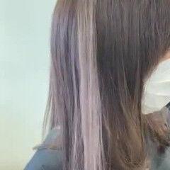 ラベンダーグレー ミディアム フェミニン ラベンダーアッシュ ヘアスタイルや髪型の写真・画像