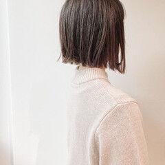 モテボブ 切りっぱなしボブ ナチュラル ミニボブ ヘアスタイルや髪型の写真・画像