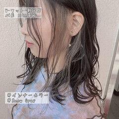 ハイライト インナーカラー インナーカラーシルバー 透明感カラー ヘアスタイルや髪型の写真・画像