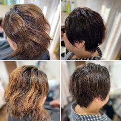 ウルフカット ウルフパーマ ショートヘア ガーリー ヘアスタイルや髪型の写真・画像