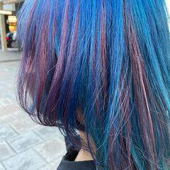 ブリーチカラー インナーカラー ミディアム ブルーバイオレット ヘアスタイルや髪型の写真・画像