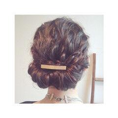 パーティ ギブソンタック 外国人風 セミロング ヘアスタイルや髪型の写真・画像