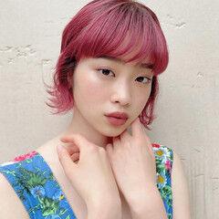 デザインカラー ピンク フェミニン ピンクカラー ヘアスタイルや髪型の写真・画像