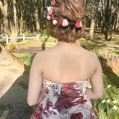 ブライダル フェミニン ハーフアップ ボブ ヘアスタイルや髪型の写真・画像