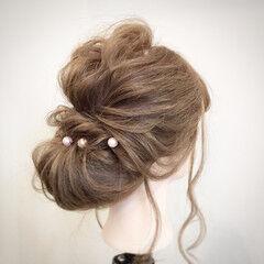 大人かわいい ギブソンタック ヘアアレンジ セミロング ヘアスタイルや髪型の写真・画像