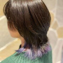 モード ボブ ウルフカット インナーカラー ヘアスタイルや髪型の写真・画像