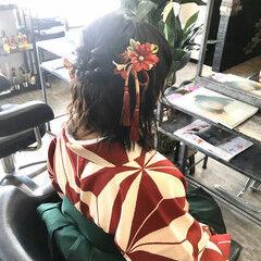 和装ヘア ナチュラル ヘアセット ボブ ヘアスタイルや髪型の写真・画像