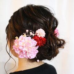 振袖ヘア ヘアセット ヘアアレンジ ミディアム ヘアスタイルや髪型の写真・画像