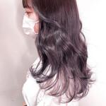 グレージュ 透明感カラー セミロング 地毛風カラー
