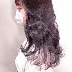 グレージュ 透明感カラー セミロング 地毛風カラー ヘアスタイルや髪型の写真・画像