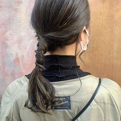 簡単ヘアアレンジ アッシュグレージュ ナチュラル ミディアム ヘアスタイルや髪型の写真・画像