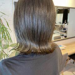 外ハネボブ くびれボブ ナチュラル 透明感カラー ヘアスタイルや髪型の写真・画像