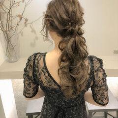 お呼ばれヘア ロング ポニーテール ヘアアレンジ ヘアスタイルや髪型の写真・画像