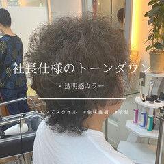 ウェーブ メンズスタイル メンズカット ダークグレー ヘアスタイルや髪型の写真・画像